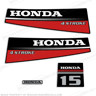 Honda 15hp 4-Stroke Decal Kit - 1987 - 1989