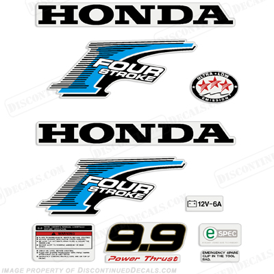 Honda 9.9hp 4-Stroke Decal Kit - New Style