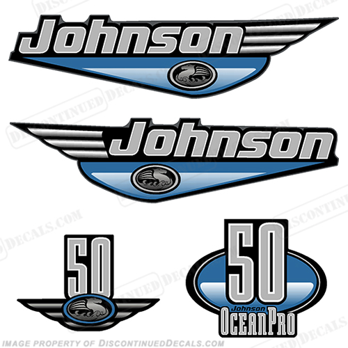 Johnson 50hp OceanPro Decals - Light Blue