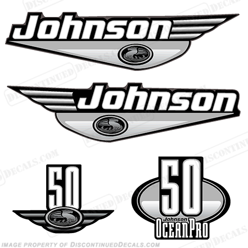 Johnson 50hp OceanPro Decals - Silver