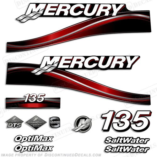 "Mercury 135hp ""Optimax"" Saltwater Decals (Red) - 2005"