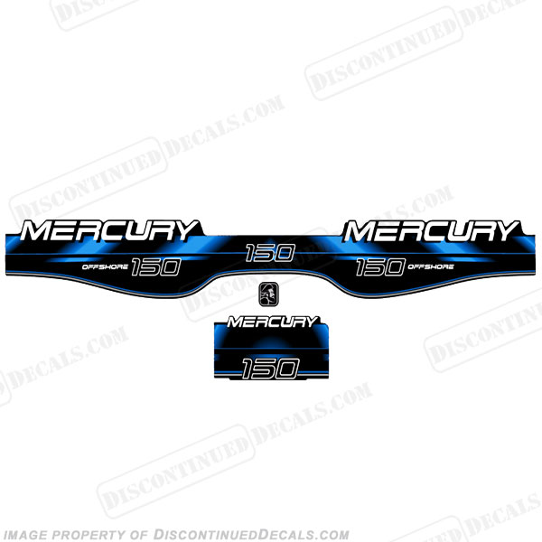 Mercury 150hp Offshore BlackMax Decals - Blue