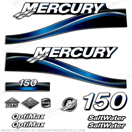 "Mercury 150hp ""Optimax"" Saltwater Decals (Blue) - 2005"