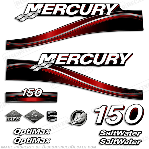 "Mercury 150hp ""Optimax"" Saltwater Decals (Red) - 2005"