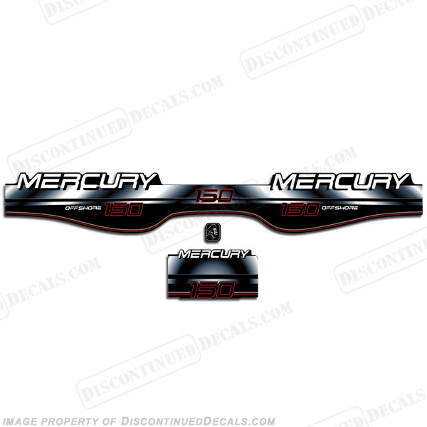 Mercury 150hp Offshore BlackMax Decals - White/Black