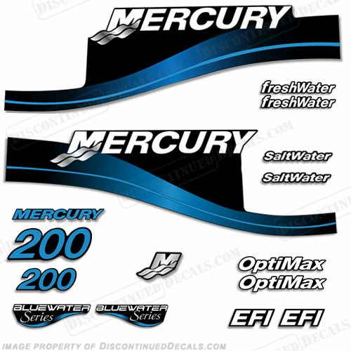 Mercury 200hp Decal Kit - 1999-2004 (Blue) All Models Available