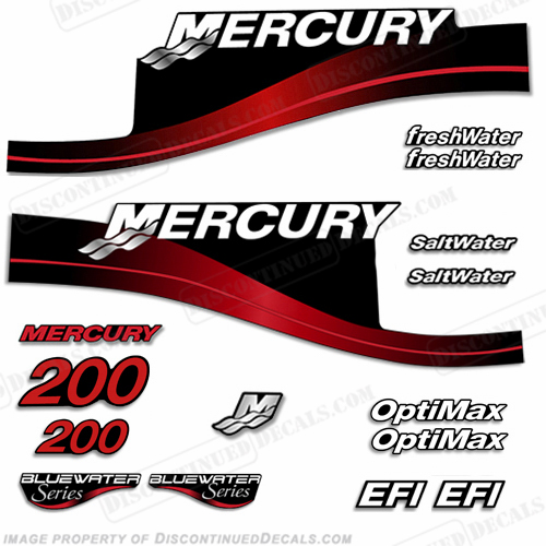 Mercury 200hp Decal Kit - 1999-2004 (Red) All Models Available