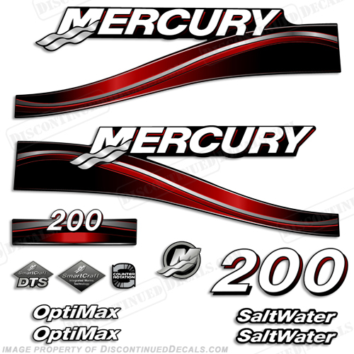 Mercury 200hp Optimax Decal Kit (Red) - 2005