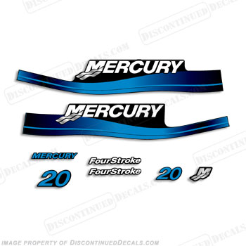 Mercury 20hp 4-Stroke Decal Kit - Blue