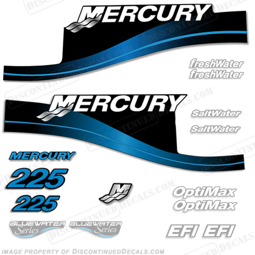 Mercury 225hp Decal Kit - 1999-2004 (Blue) All Models Available