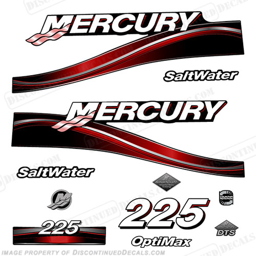 Mercury 225hp Optimax Decal Kit - 2005 Red