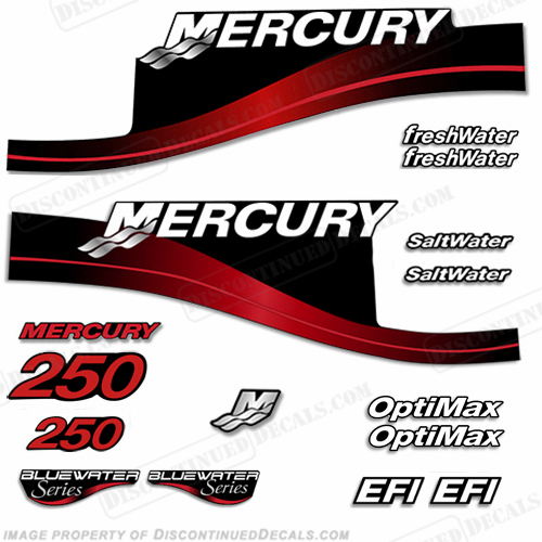Mercury 250hp Decal Kit - 1999-2004 (Red) All Models Available