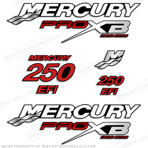 Mercury 250hp Pro XB Limited Edition Decals - Red