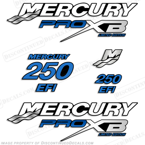 Mercury 250hp Pro XB Limited Edition Decals - Blue