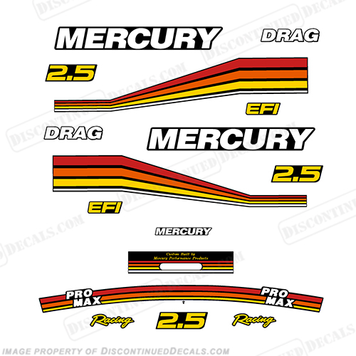 Mercury 260hp 2.5L Racing Pro Max Partial Decal Kit