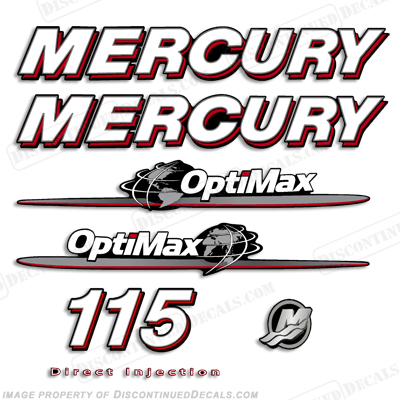 "Mercury 115hp ""Optimax"" Decals - 2007-2012"