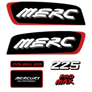 Mercury 225hp Pro Max Decal Kit - Red
