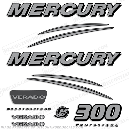 Mercury Verado 300hp Decal Kit - Silver