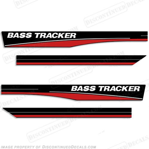 Bass Tracker 16' Boat Decals - Red